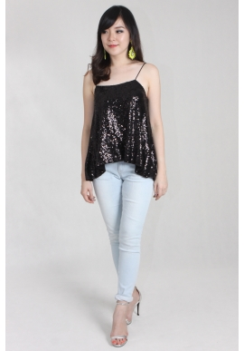 Sequin Shoestring Top in Coal