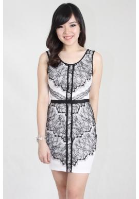 Lace Sheath Dress in White