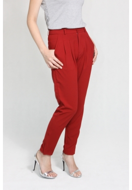 Pleated Tapered Pants in Wine