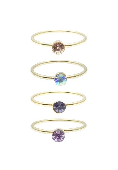 Tiny Stone Stacked Midi Ring Set