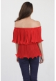 Leia Flutter Top in Red