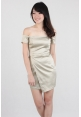 Fab Party Off Shoulder Dress in Champagne