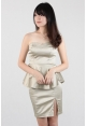 Tube Peplum Side Slit Dress in Champagne