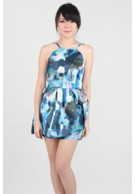 Watercolor Peplum Romper