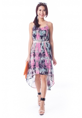 Warhol Dress in Navy Pink