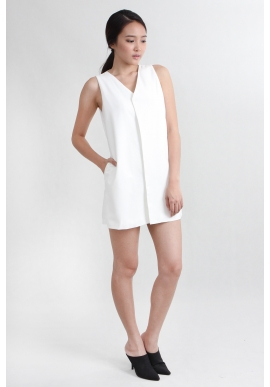 Layer Vest Romper in White