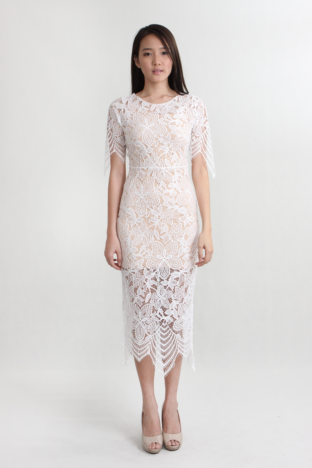 Gallery For Lace Midi Dress