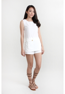 Asymmetrical White Shorts Co-Ords