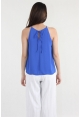 High Neck Pleated Cami in Cobalt