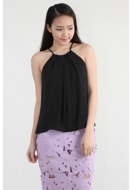High Neck Pleated Cami in Black