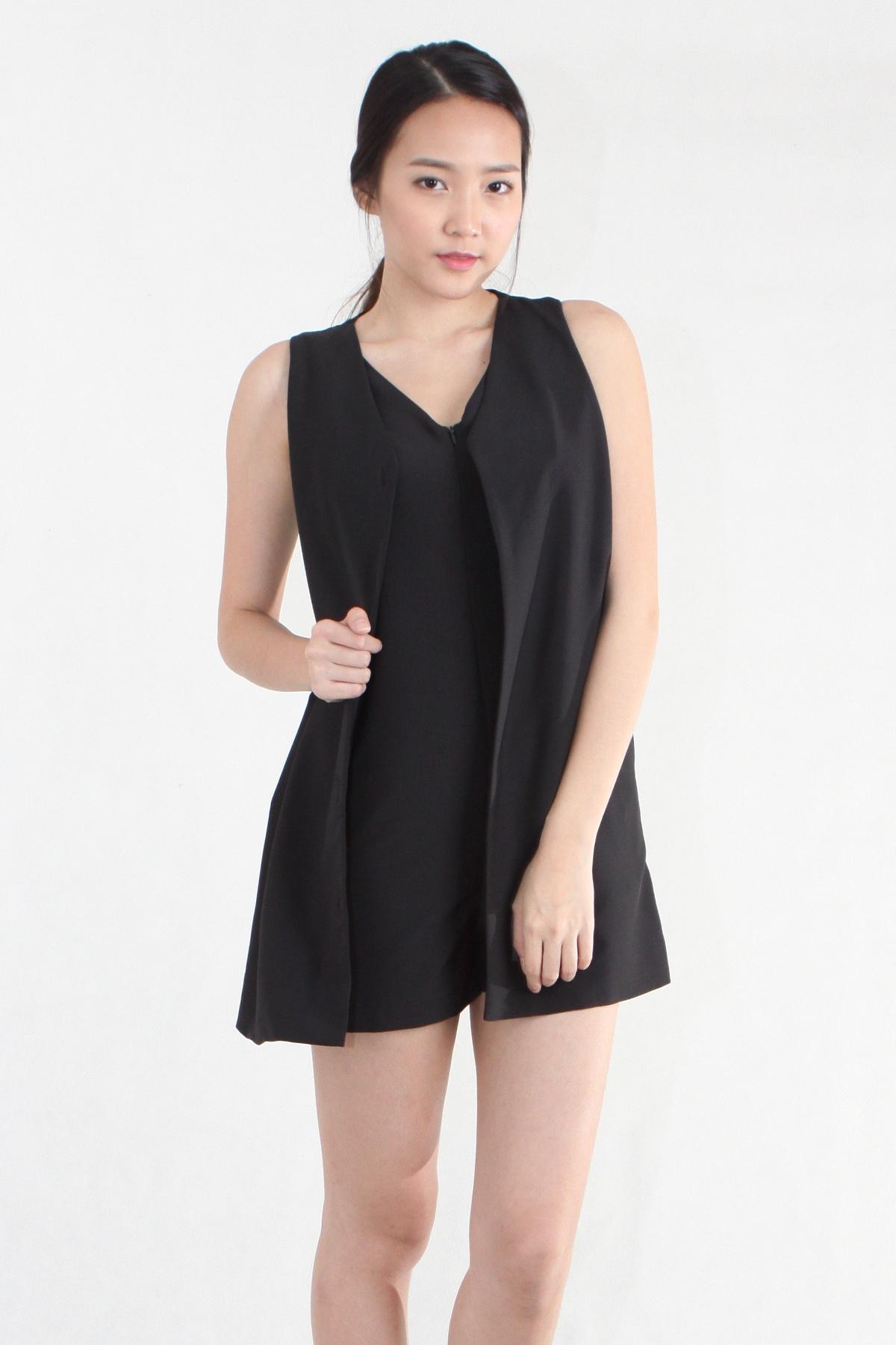 Layer Vest Romper in Black