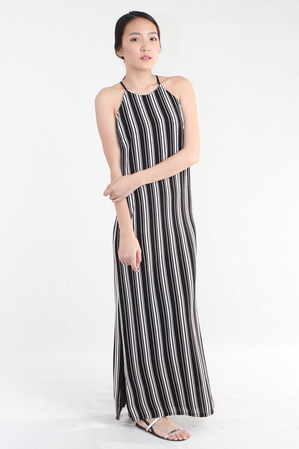 Stripe Spaghetti Slit Maxi in Black