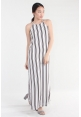 Stripe Spaghetti Slit Maxi in White