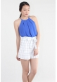 Grid Paperbag Shorts in White