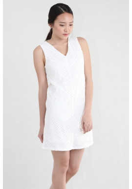 Crochet Panel Shift Dress in White