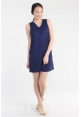 Crochet Panel Shift Dress in Blue