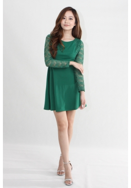 Kate Lace Skater Dress in Forest