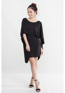 Cape Backless Dress in Black
