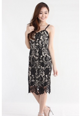 Demi Crochet Lace Dress in Black