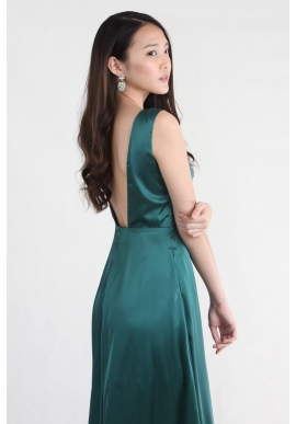 Emerald Satin Backless Maxi
