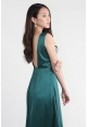 Satin Backless Maxi in Emerald