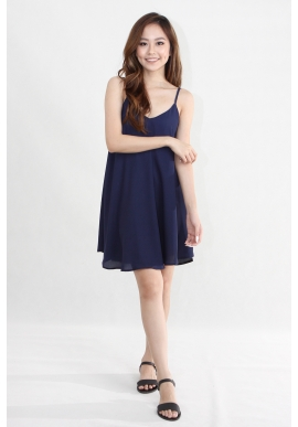 Criss Cross Spag Swing Dress in Navy