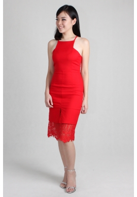 Lace Insert Sheath Dress in Red