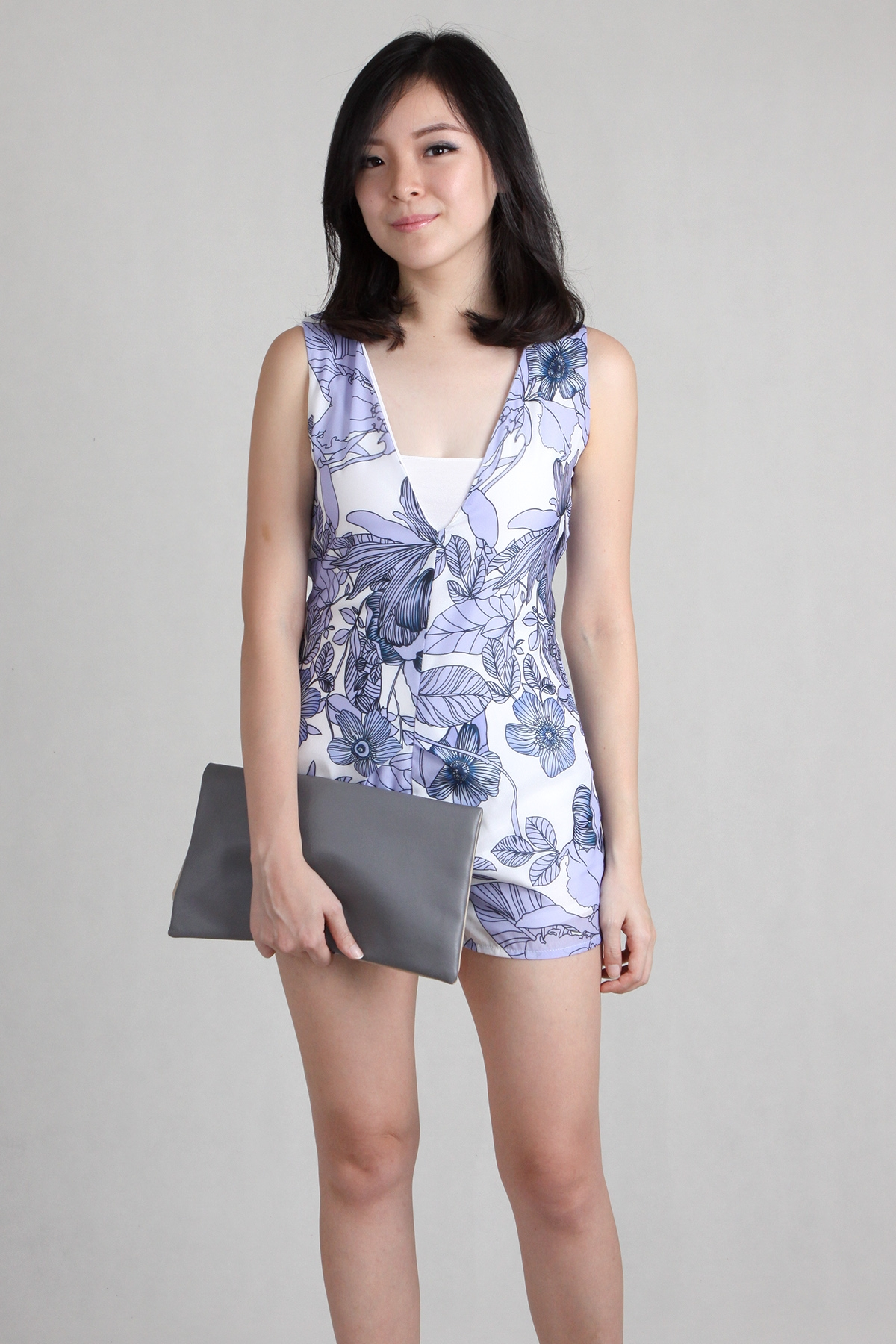 Plunge V Shift Romper in Palm Print