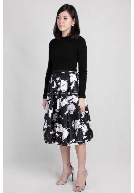 Paint Splatter Midi Skirt