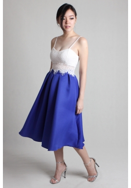 Cobalt Pleated Midi Skirt