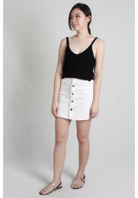 Button Denim Skirt in White