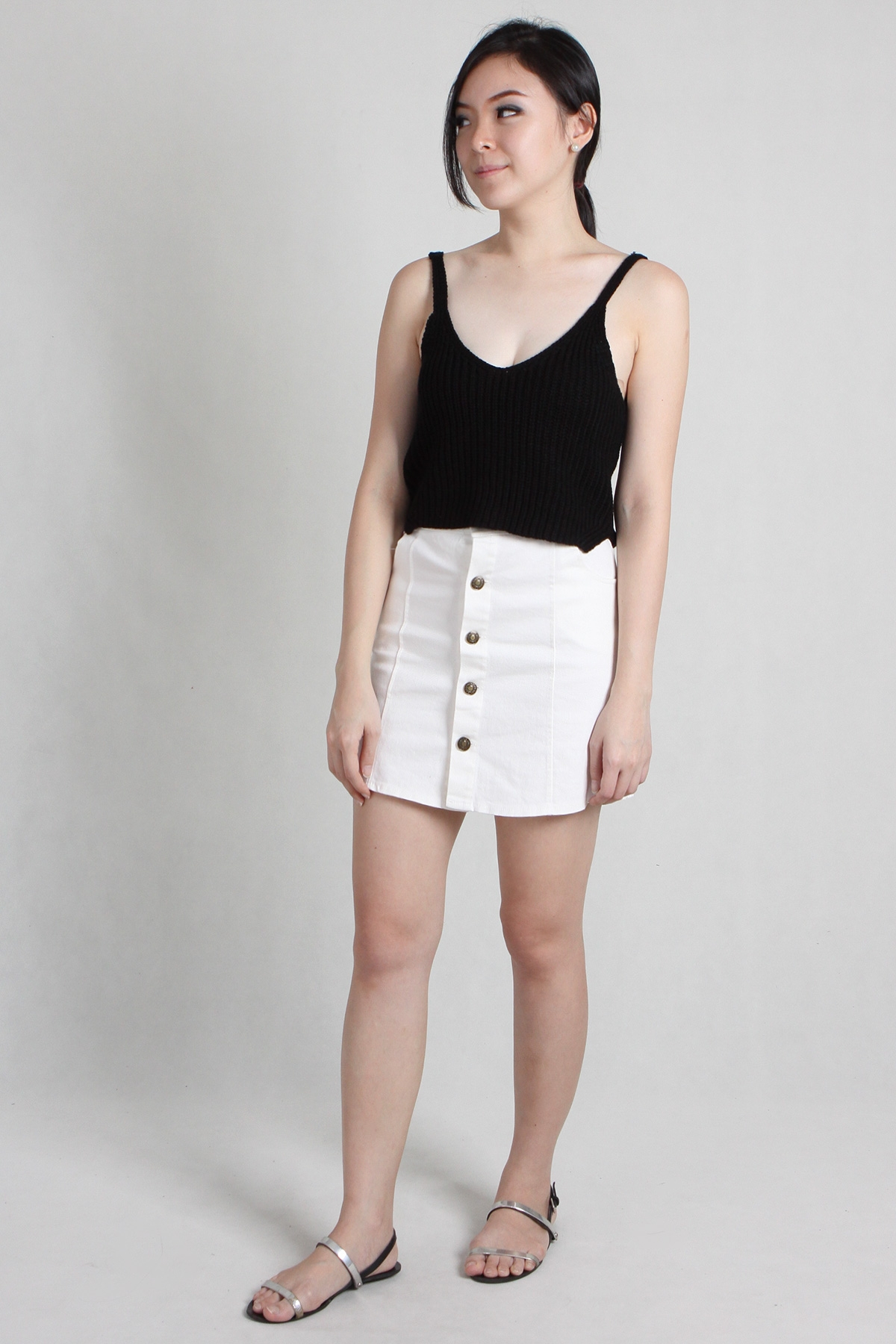 Button Denim Skirt in White - PS Curate
