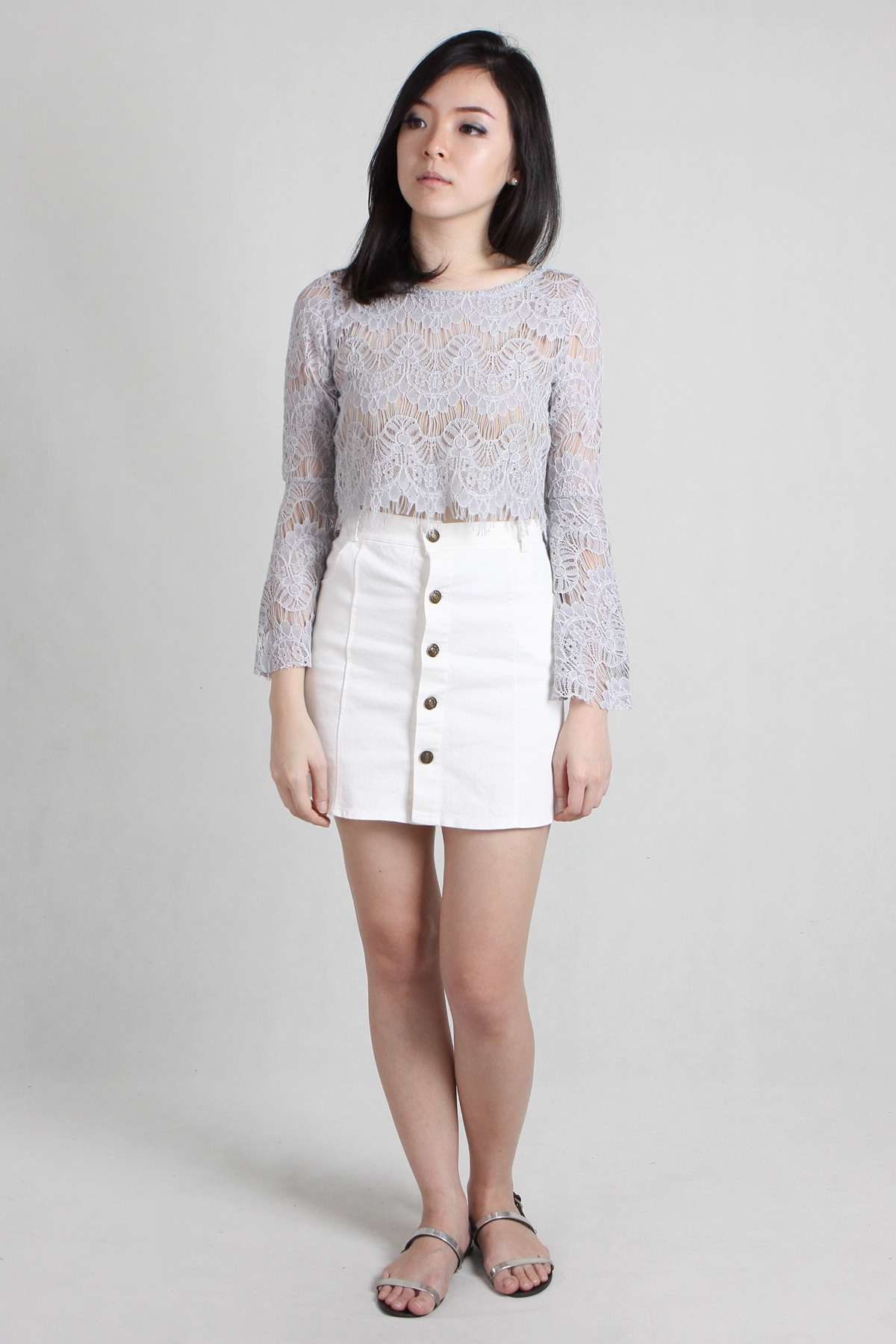 White Denim Button Skirt | Jill Dress