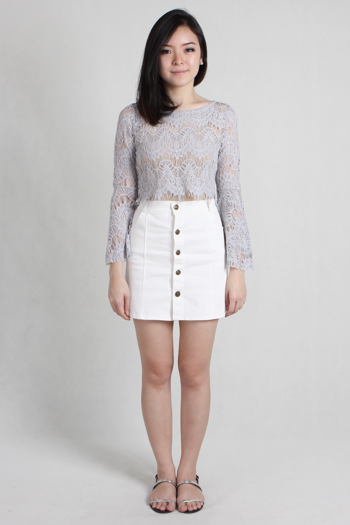 White Button Up Denim Skirt - Dress Ala