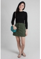 Button Denim Skirt in Khaki Green