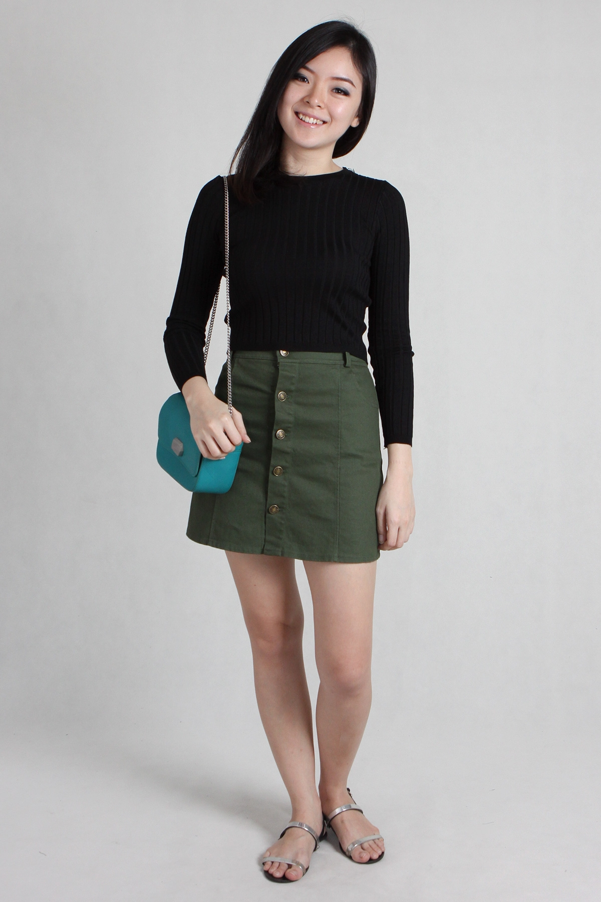 Button Denim Skirt in Khaki Green - PS Curate