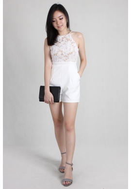 Tulla Lace Romper in White