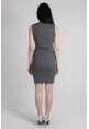 Basic High Neck Ribbed Dress in Grey