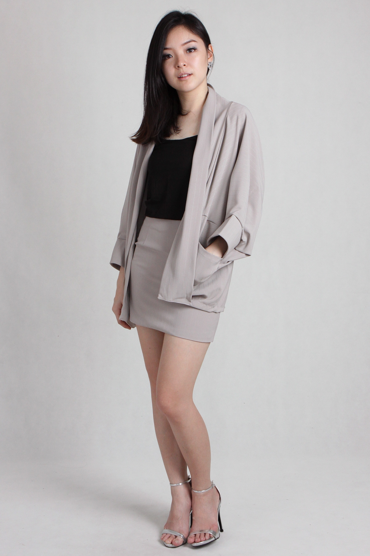 Pinstripe Tailored Shrug Skirt Set in Khaki