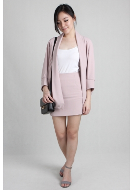 Pinstripe Tailored Shrug Skirt Set in Dusty Pink