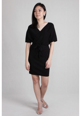 Portia Wrap Dress in Black