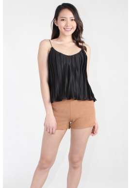 Pleated Shoestring Cami in Black