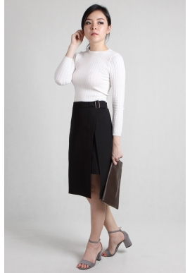Wrap Asymmetric Skirt in Black