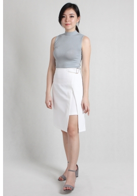 Wrap Asymmetric Skirt in White