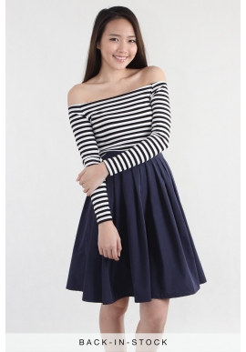 Off Shoulder Basic Tee in Stripes