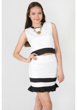 Adriana Piped Skirt Set in White
