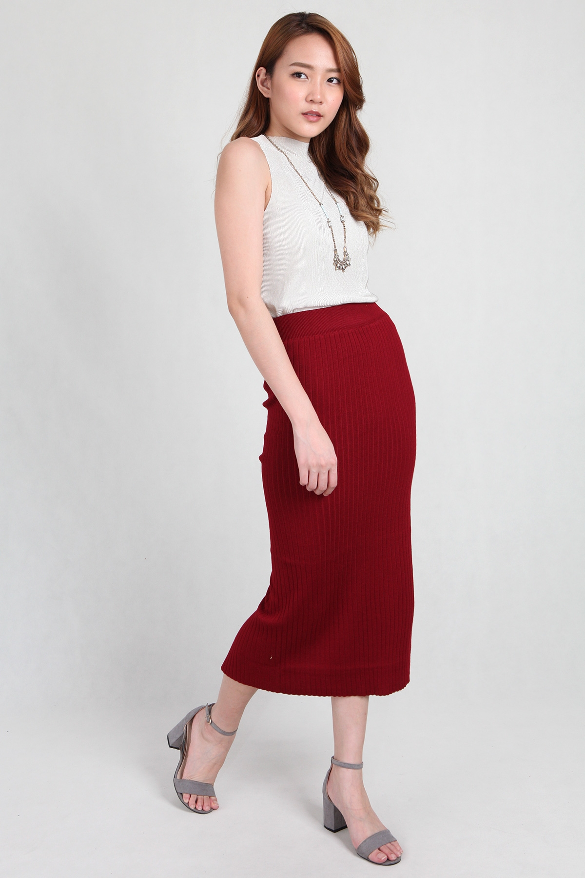 Knit Midi Skirt in Wine - PS Curate