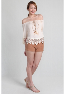 Tassel Crochet Offsie in Nude