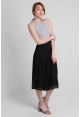 Pleated Chiffon Culottes in Black