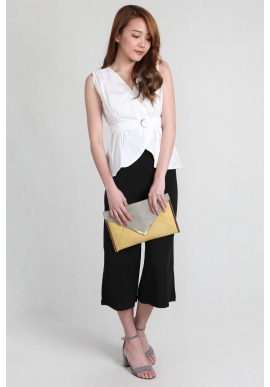 Belted Sleeveless Tulip Top in White
